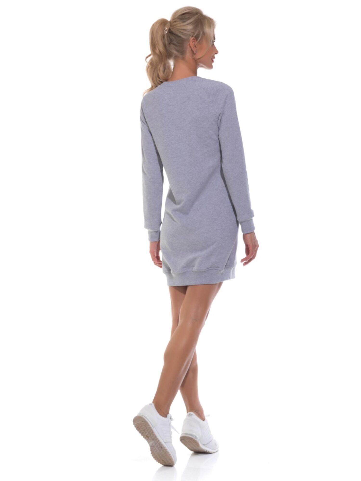 Женский удлиненный свитшот-туника Always Mini1707 серый меланж, Peche Monnaie (Россия)