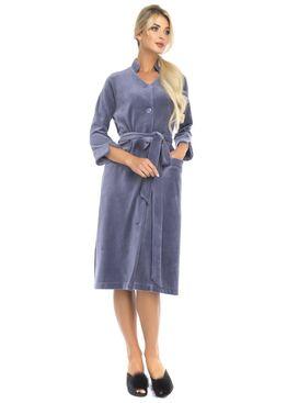 Велюровый халат на пуговицах Universel (PM France 805) дымчато-синий