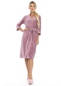 Велюровый халат на пуговицах Universel (PM France 805) сухая роза