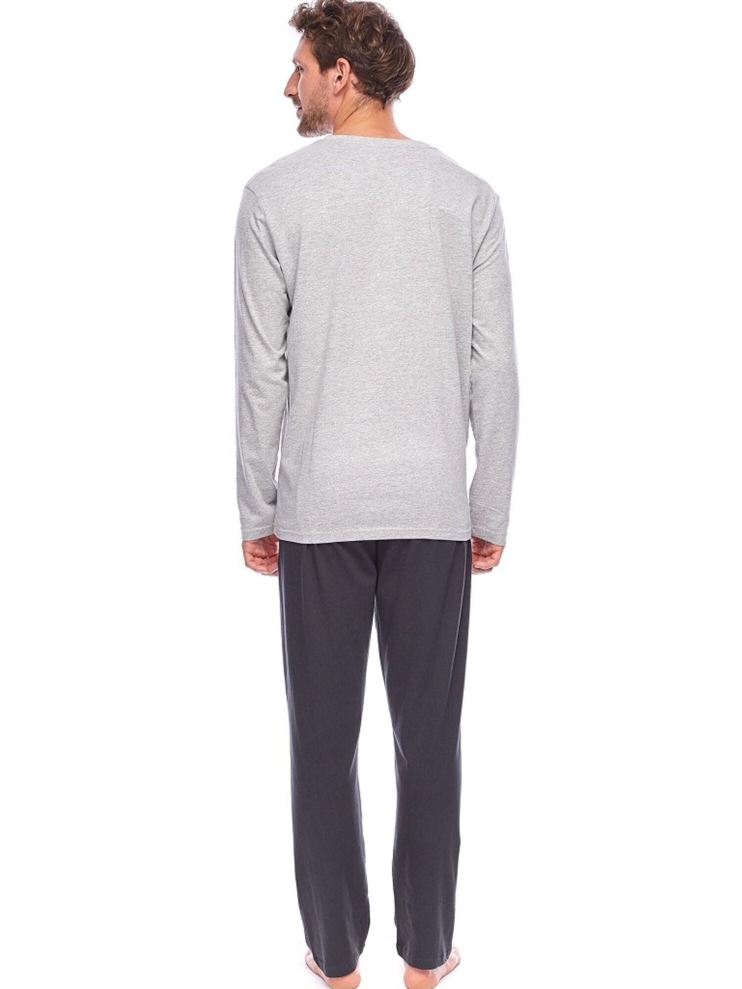 Пижама мужская из хлопка со штанами PY-157 серый/графит, ROSSLI