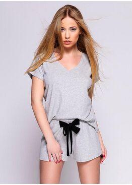 Комплект женский с шортами SAVANNAH SZARY, SENSIS
