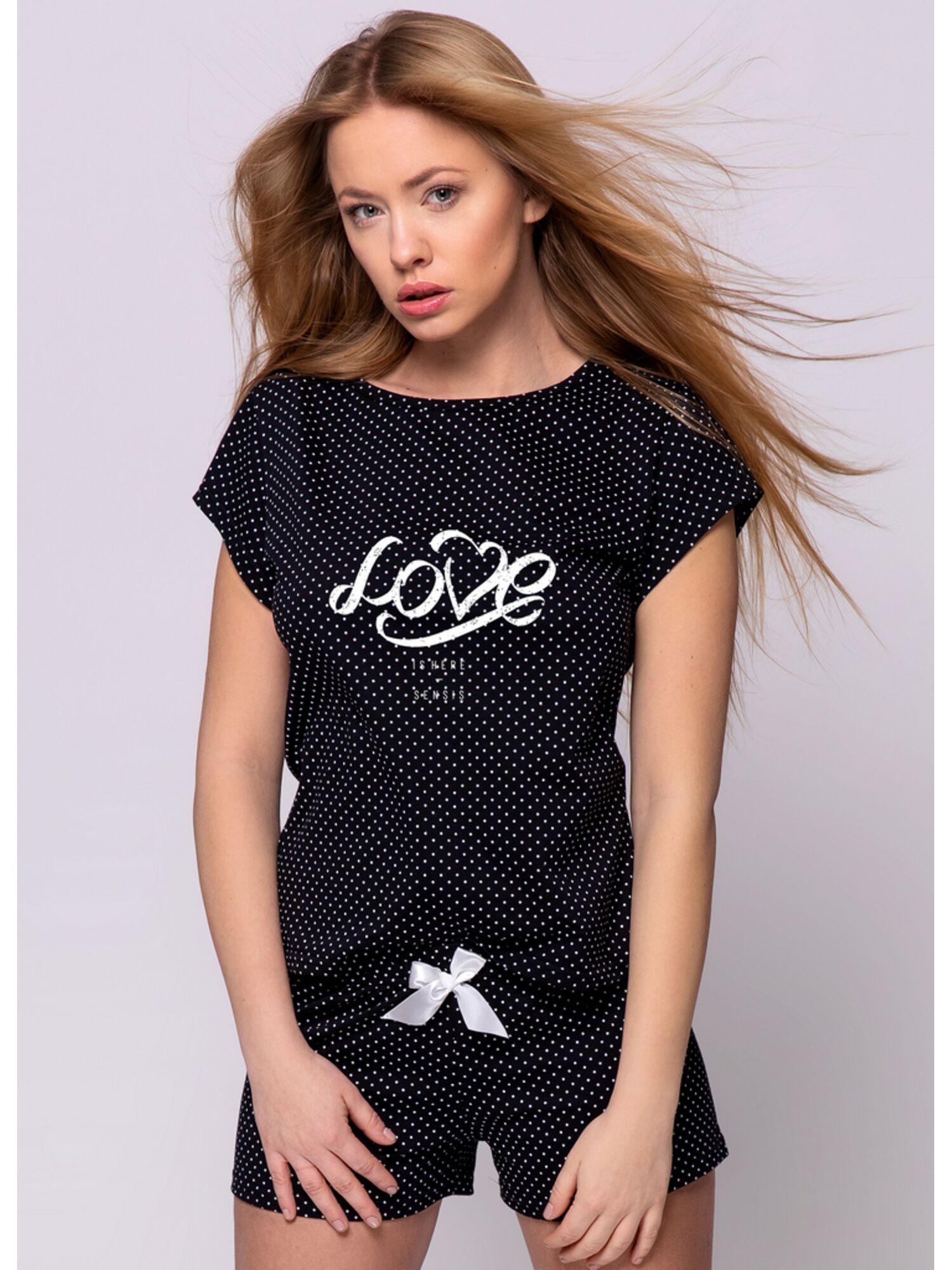 Пижама с шортами женская хлопковая, черная в горошек, CLEMENTINE, SENSIS