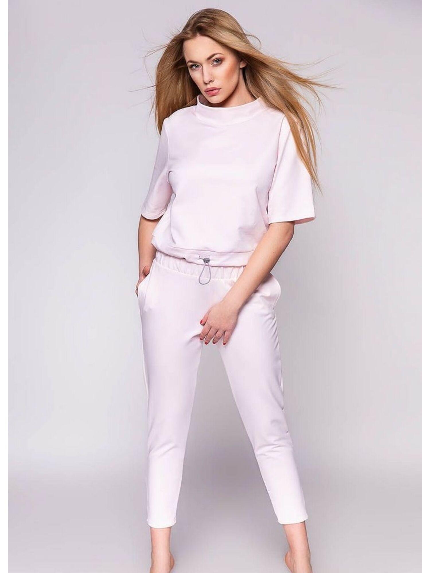Комплект женский хлопковый со штанами VIRGINIA, розовый, SENSIS