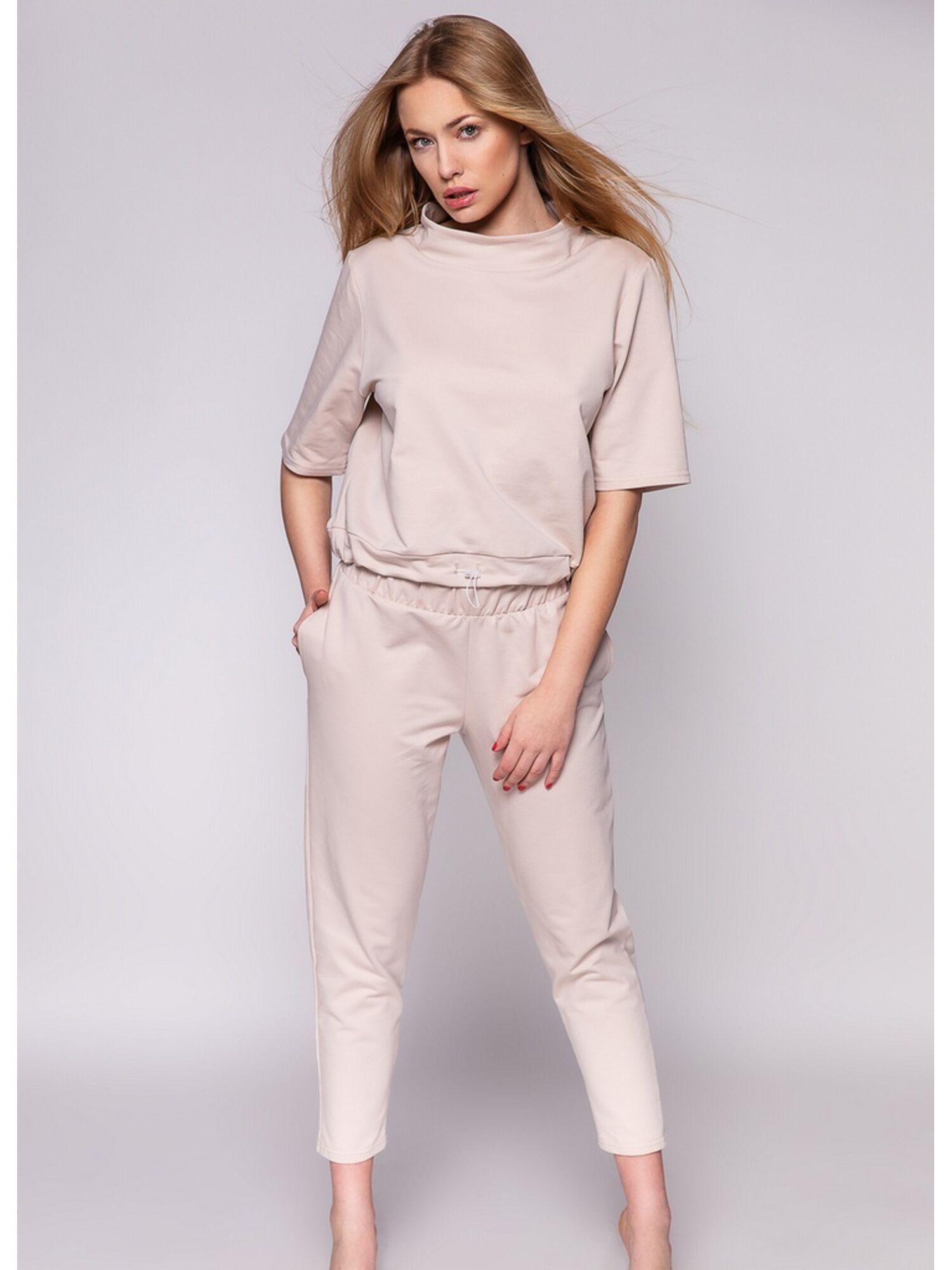 Комплект женский хлопковый со штанами NANCY, бежевый, SENSIS