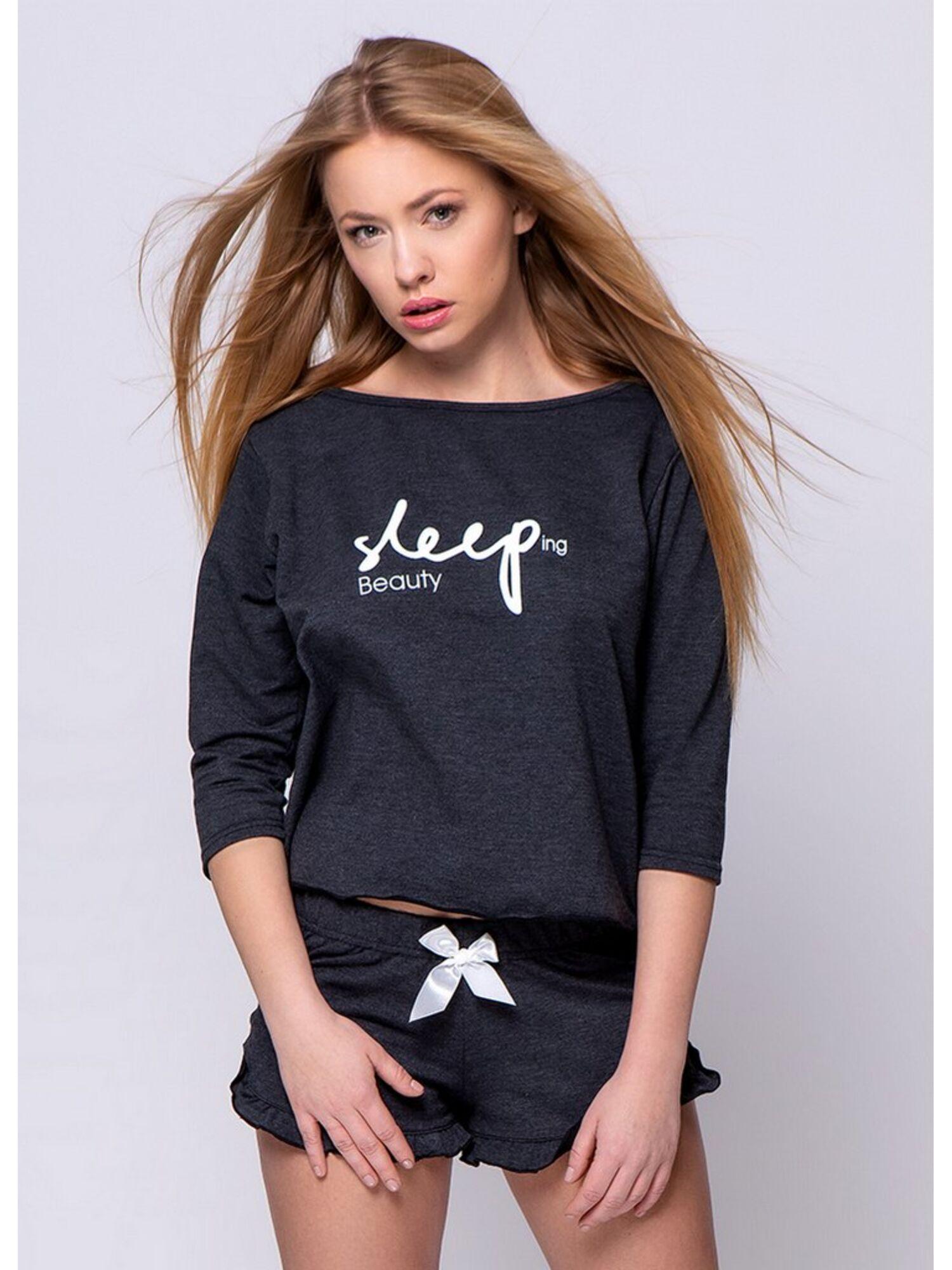 Комплект женский SLEEP grafit с шортами из футера, серый, SENSIS