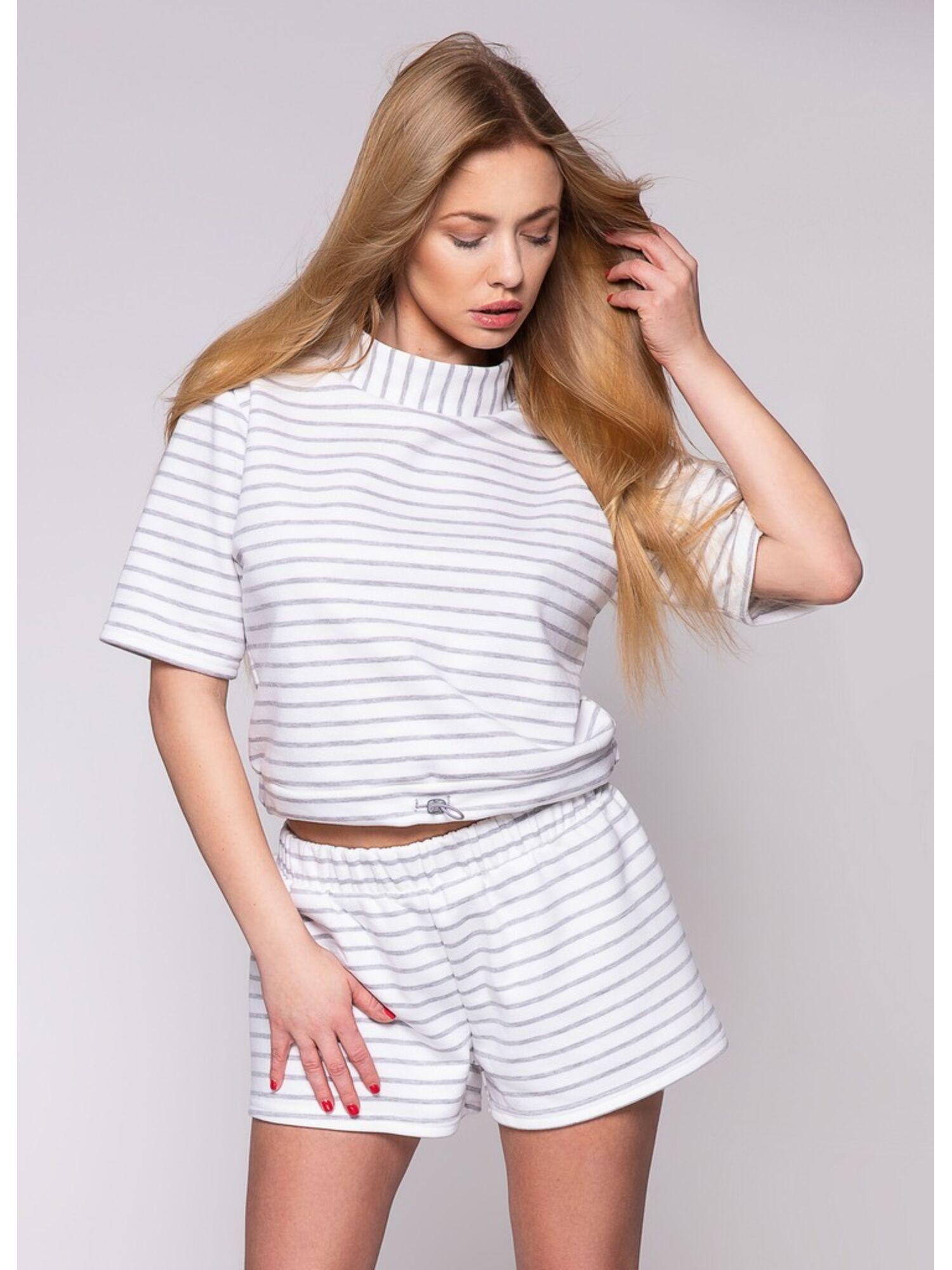 Комплект женский хлопковый с шортами MIRANDA, белый, SENSIS
