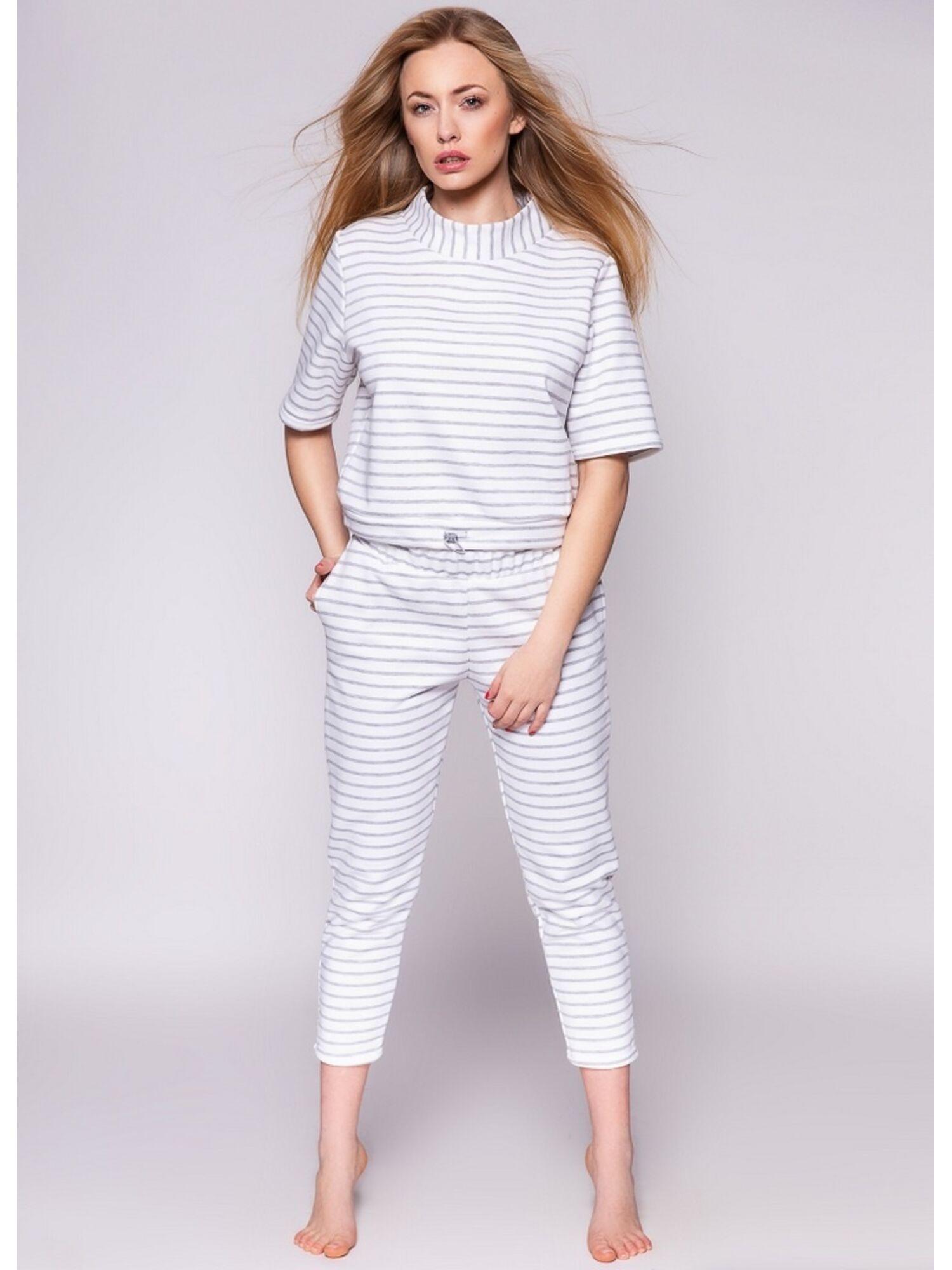 Комплект женский хлопковый со штанами IVETTE (DRES) белый, SENSIS