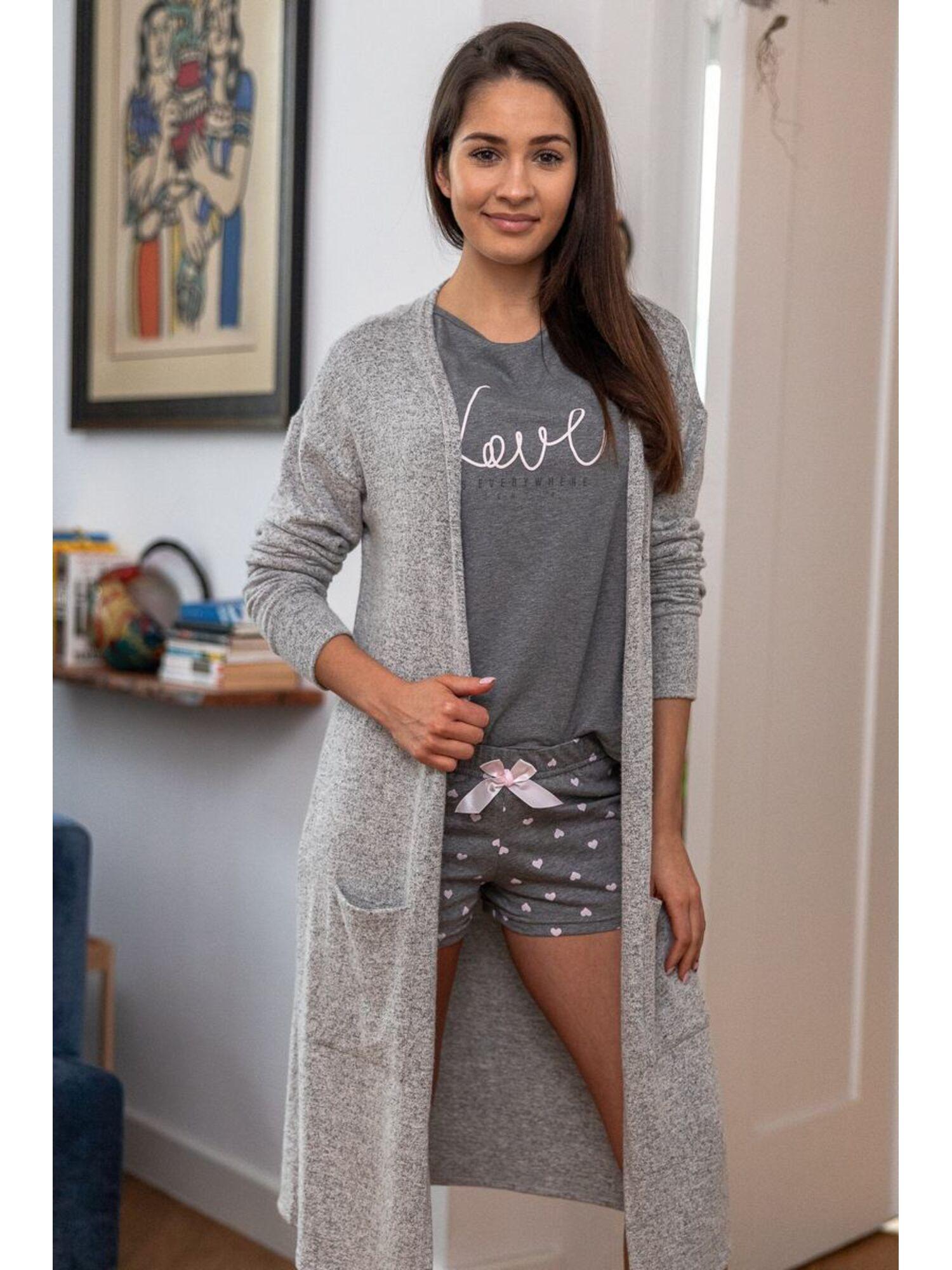 Пижама женская с шортами AUGUSTINA, серый, Sensis