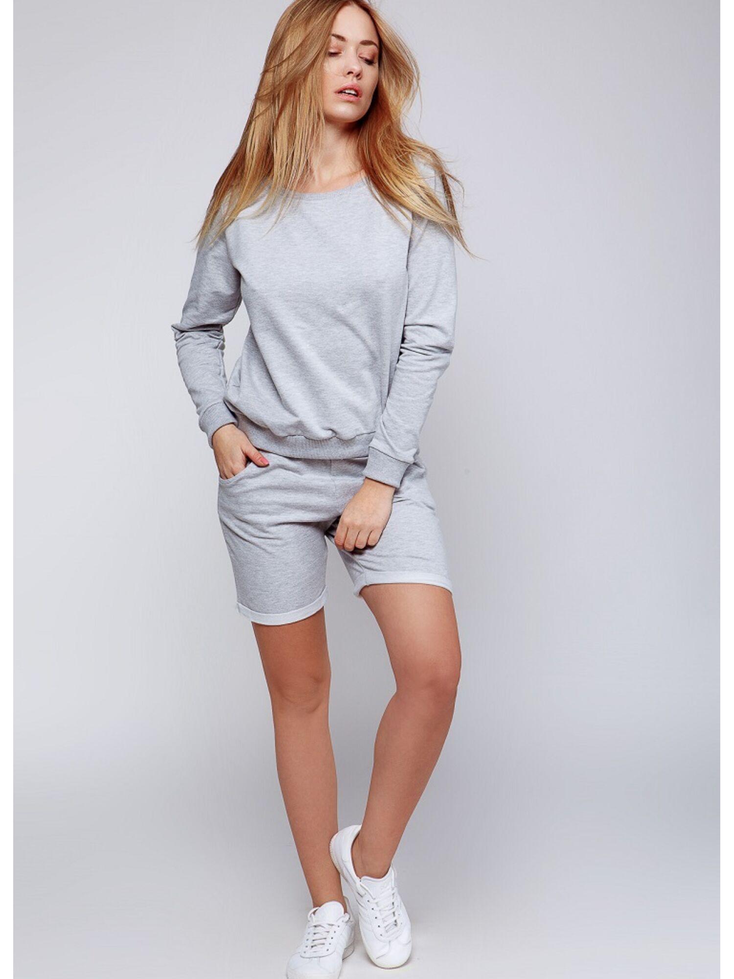 Женский хлопковый комплект с шортами DRAFT серый, Sensis (Польша)