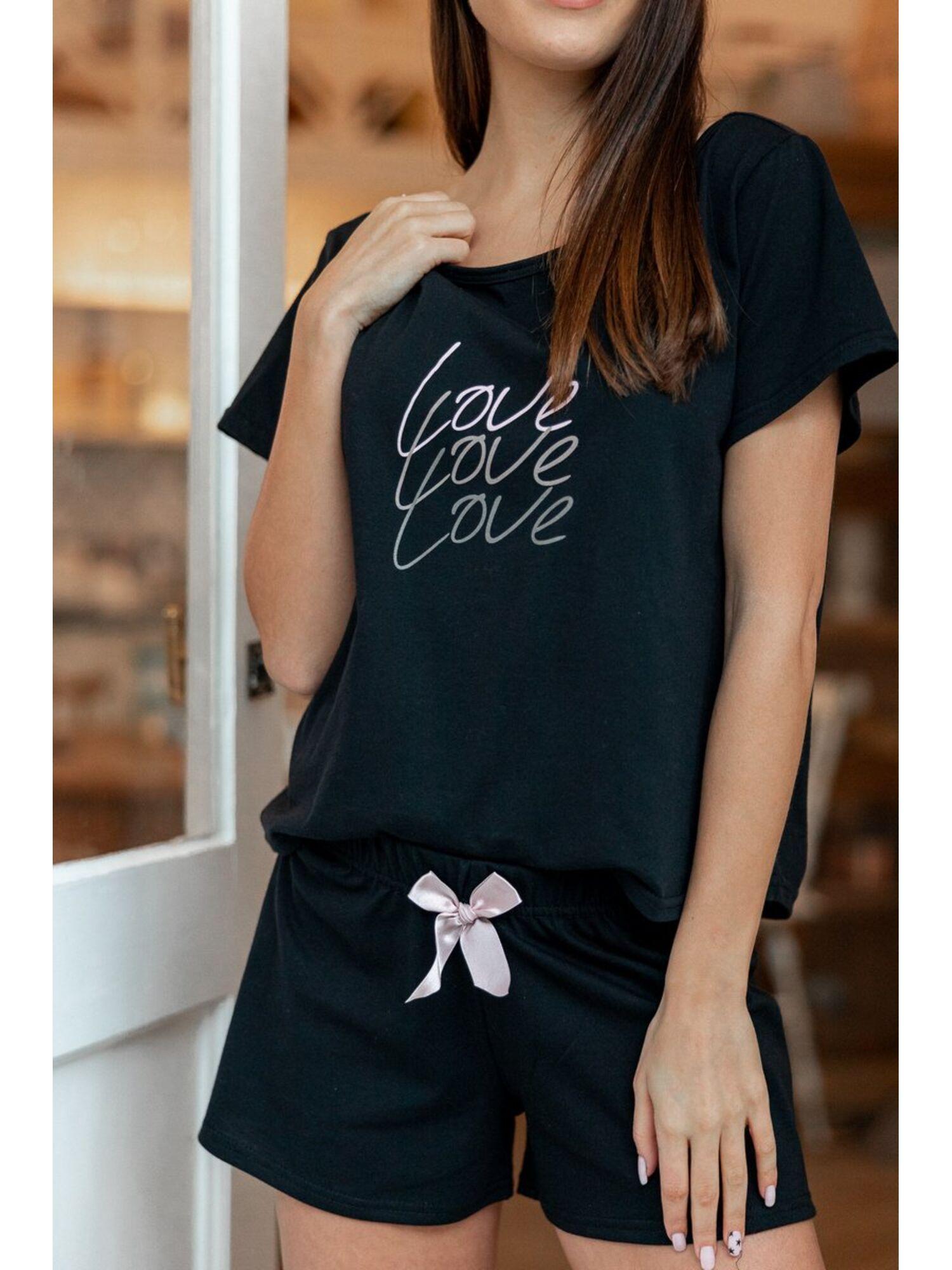 Пижама женская с шортами AMPARO, чёрный, Sensis