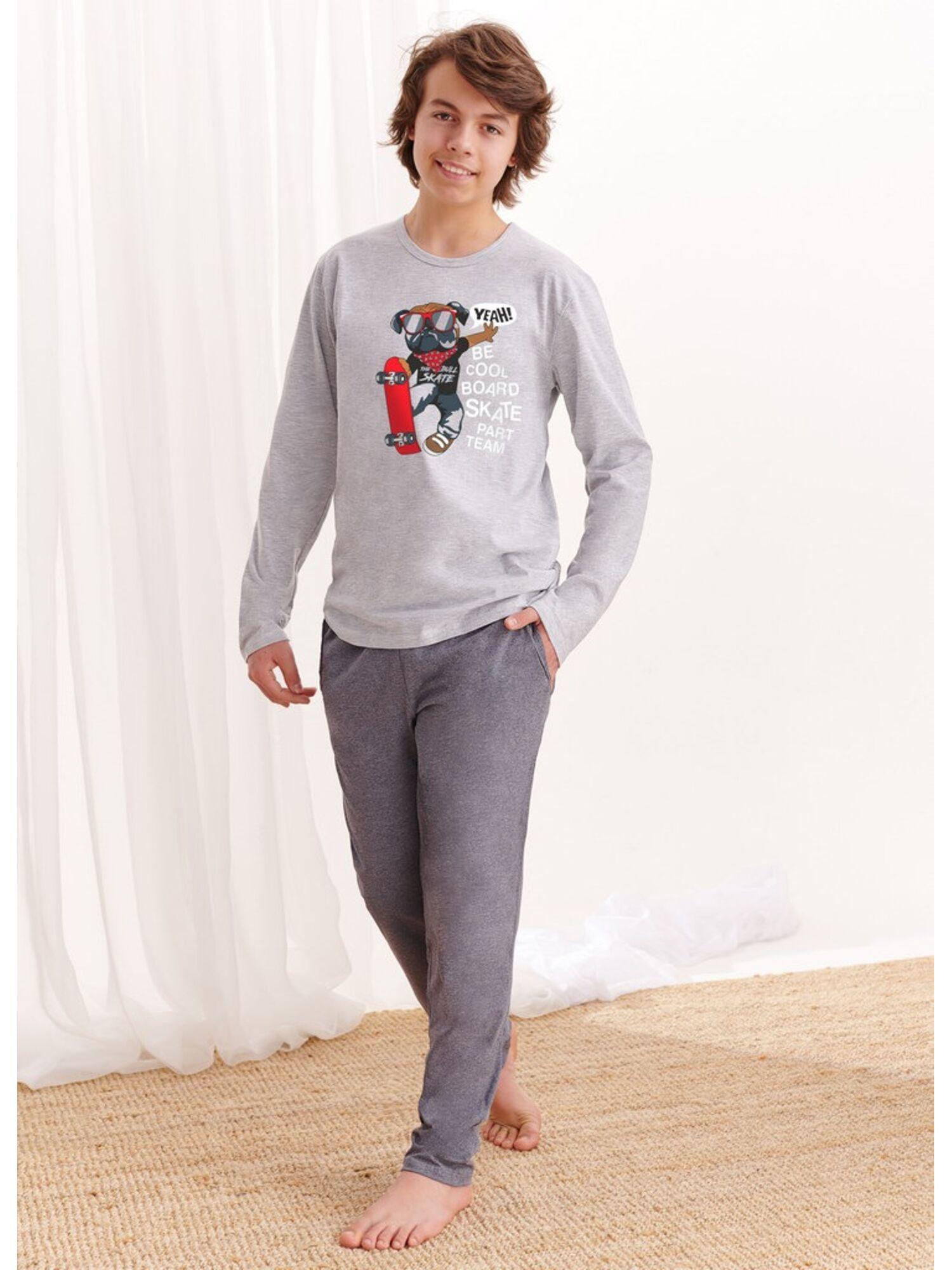 Пижама хлопковая подростковая со штанами 1175 S20/21 KAROL, серый, TARO