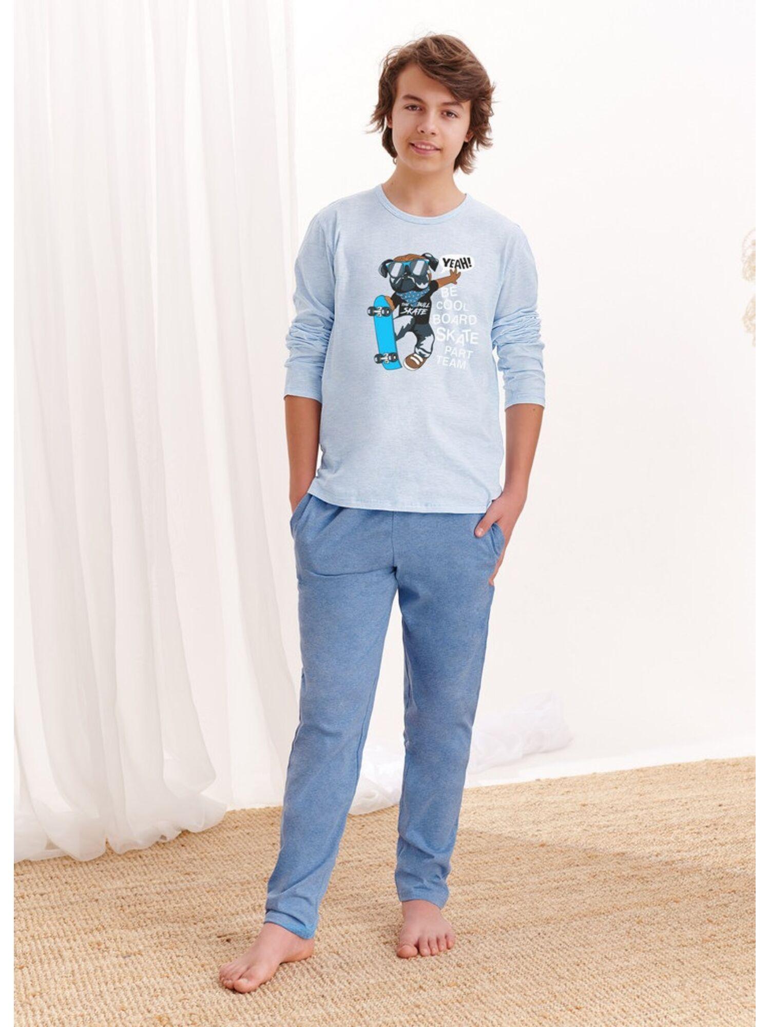 Пижама хлопковая подростковая со штанами 1175 S20/21 KAROL, голубой-синий, TARO
