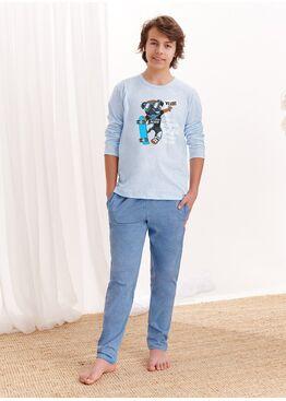 Пижама подростковая со штанами 1175 S20/21 KAROL, голубой-синий, TARO