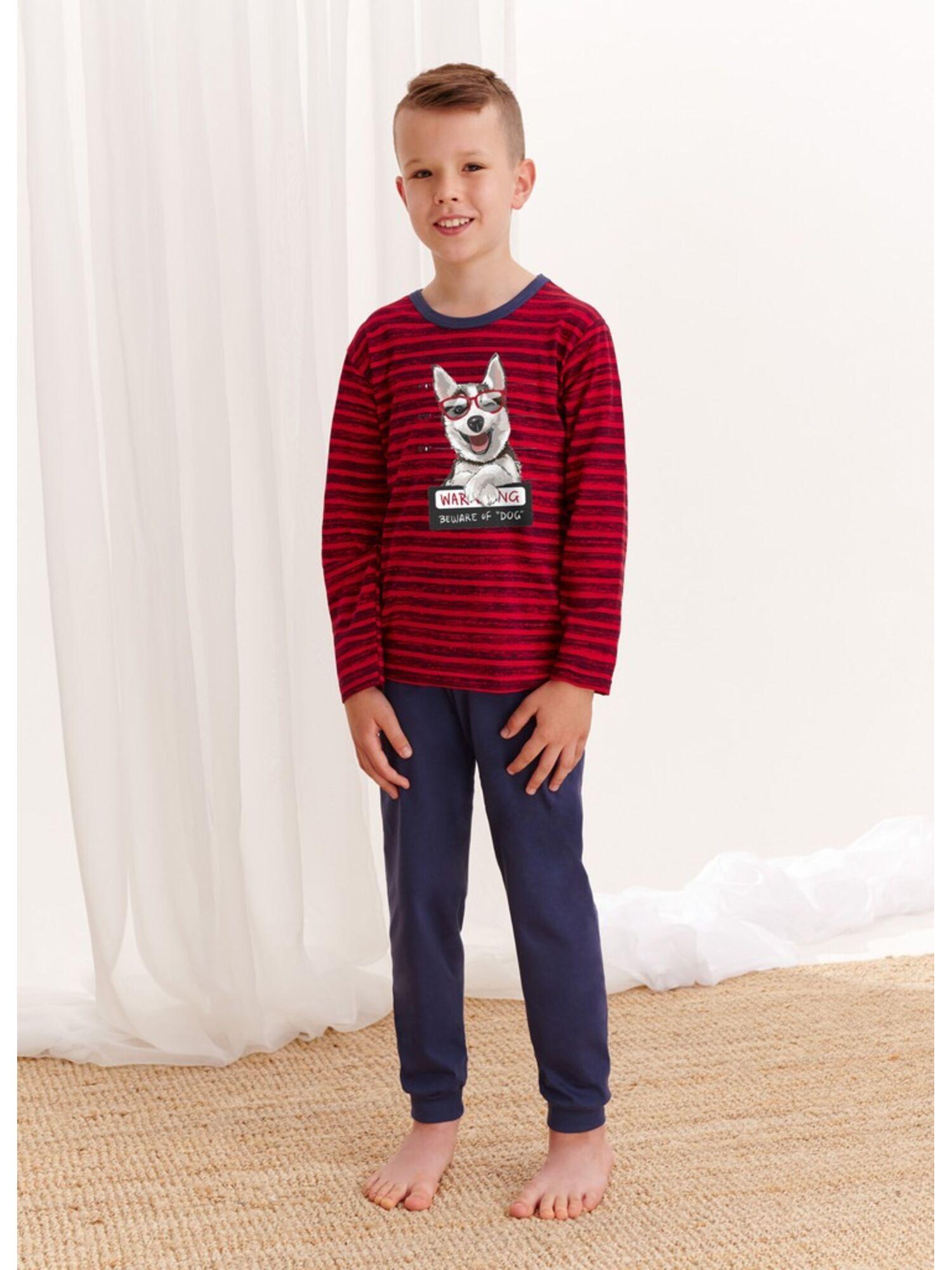 Пижама хлопковая для мальчиков со штанами 280/281 S20/21 MAX, красный-синий, TARO
