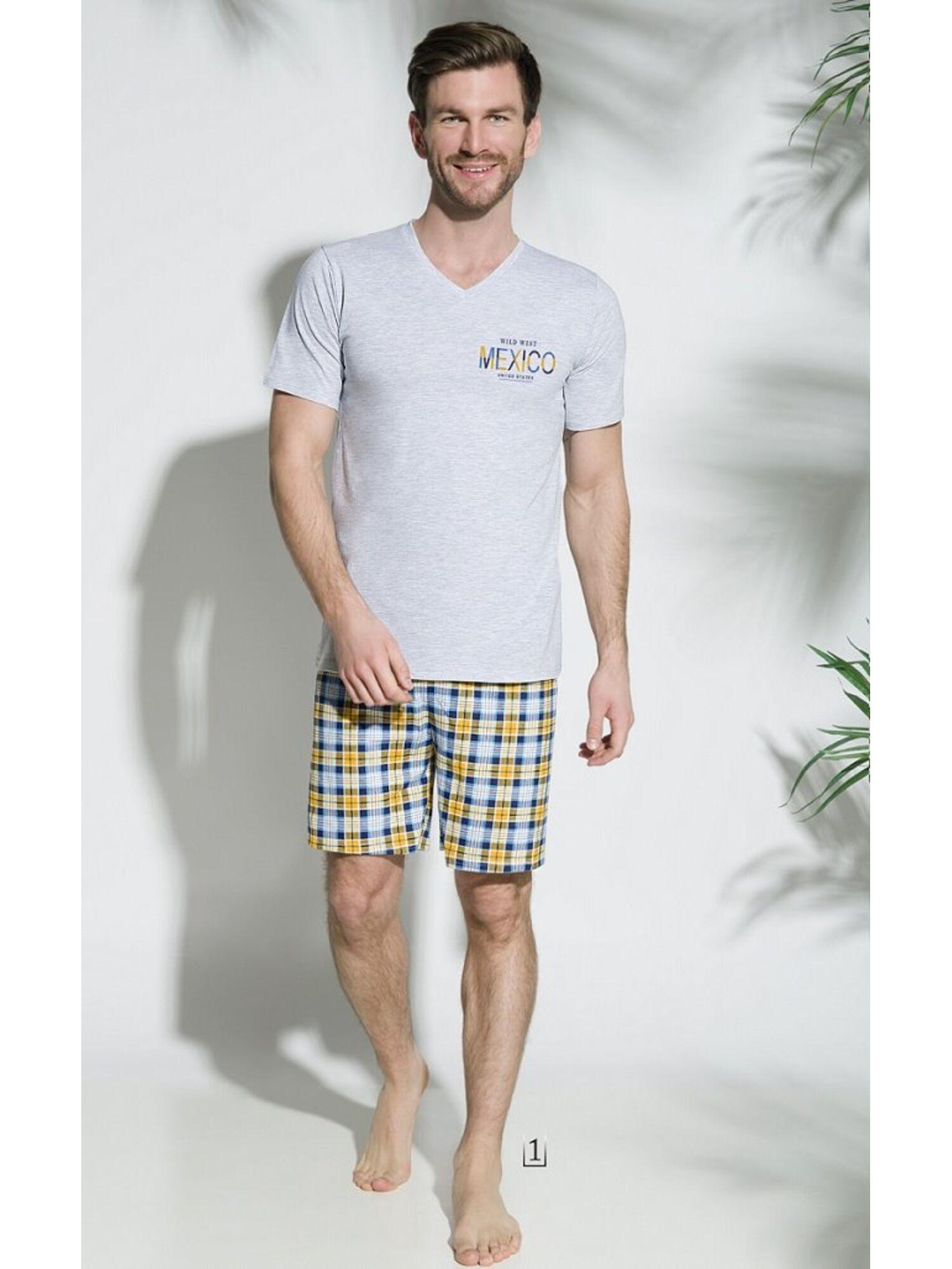 Мужская хлопковая пижама с шортами 2196/2212 18 Borys серый/желтый, Taro (Польша)