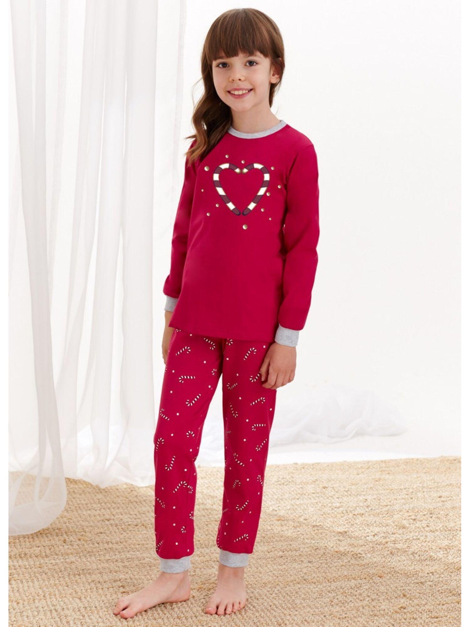 Пижама для девочек со штанами 433/434 AW20/21 ADA, бордовый, Taro