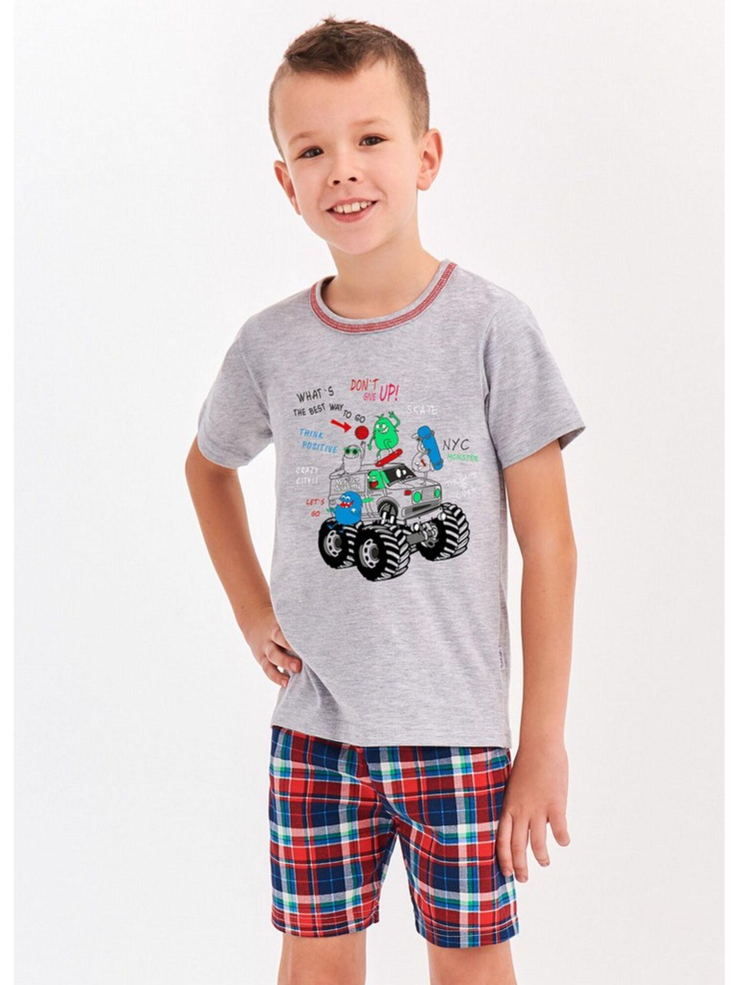 Пижама для мальчика из хлопка 943/944 S20 DAMIAN серый/красный, TARO