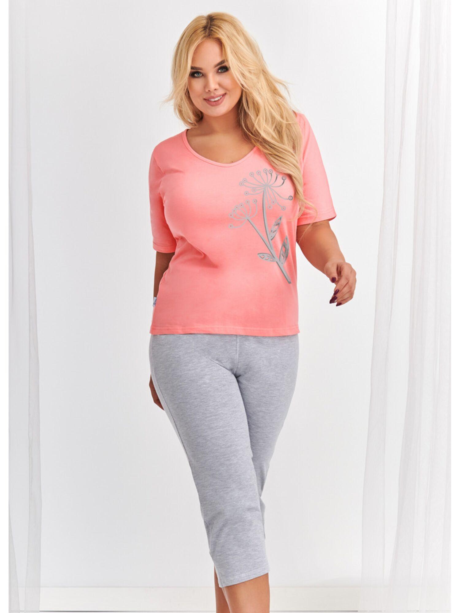 Пижама женская из хлопка с бриждами 2376 S20 LILA серый/розовый , TARO