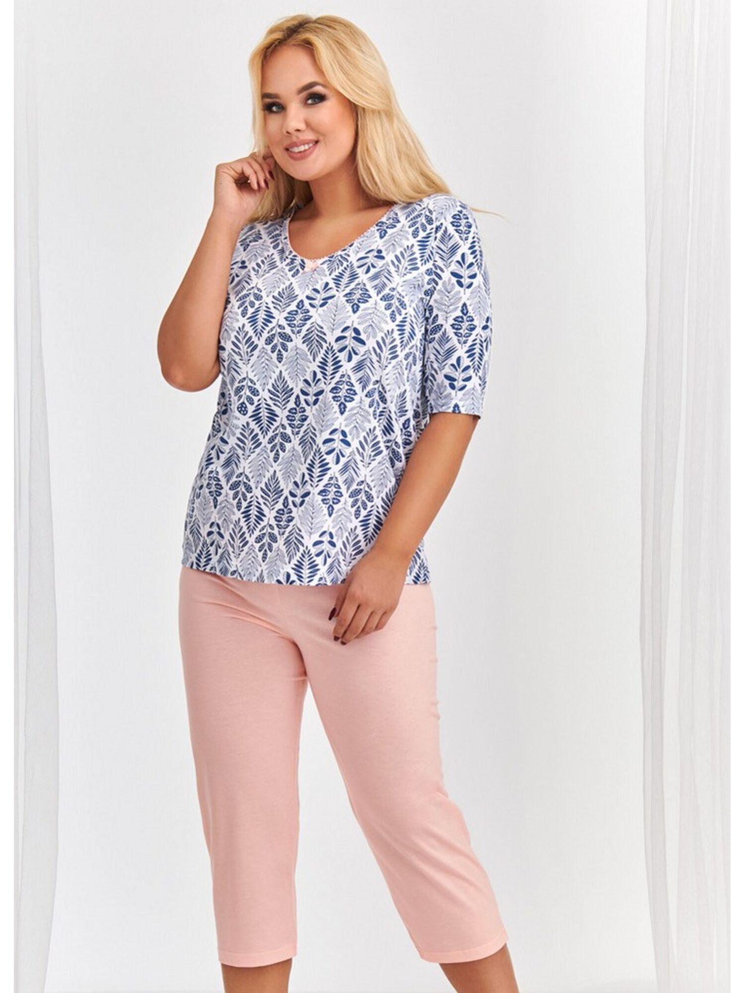 Пижама женская с бриждами из хлопка 2372/2373 S20 LIDIA розовый, TARO