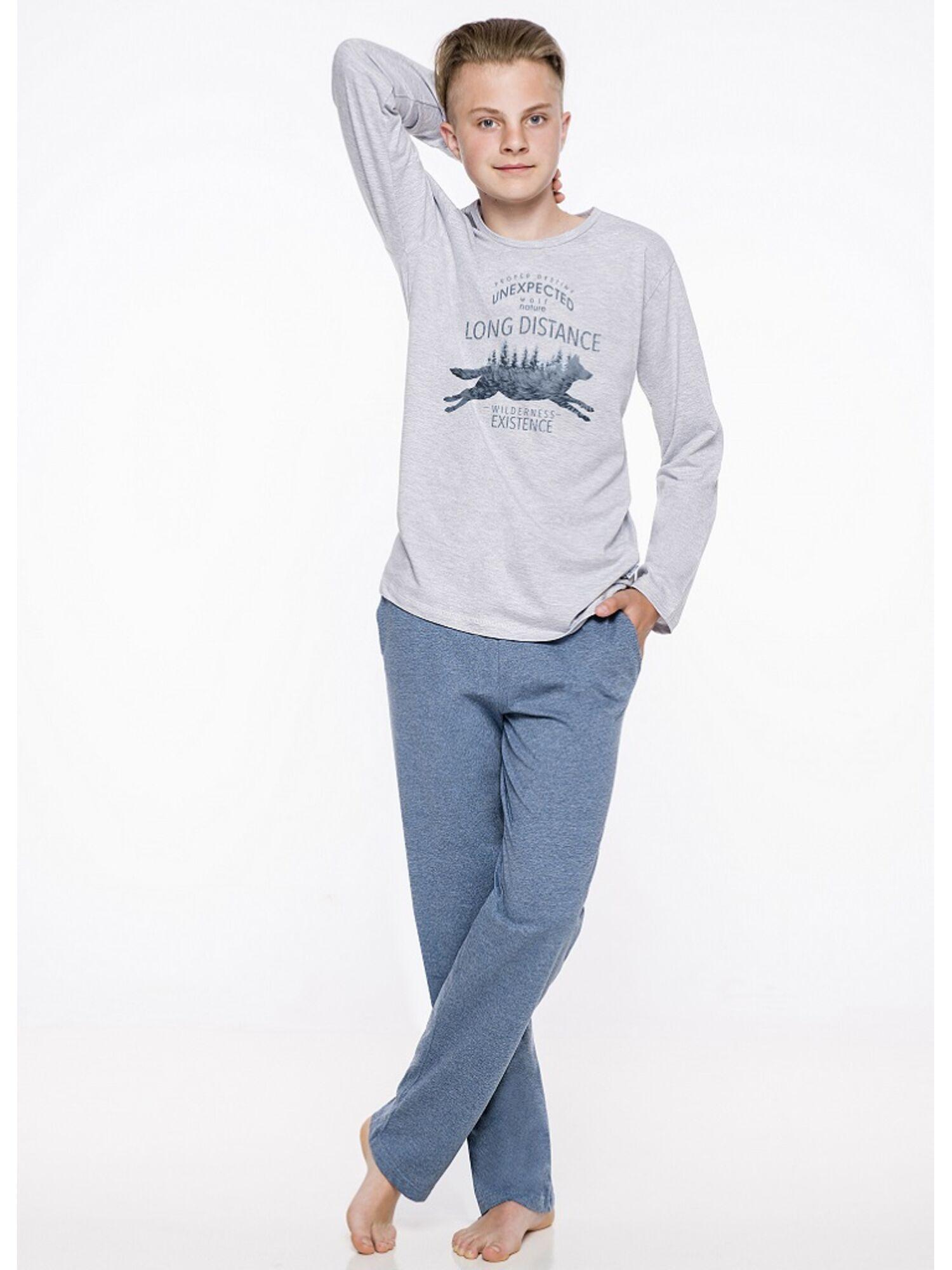 Пижама подростковая для мальчика 1175 19/20 KAROL серый/синий, Taro