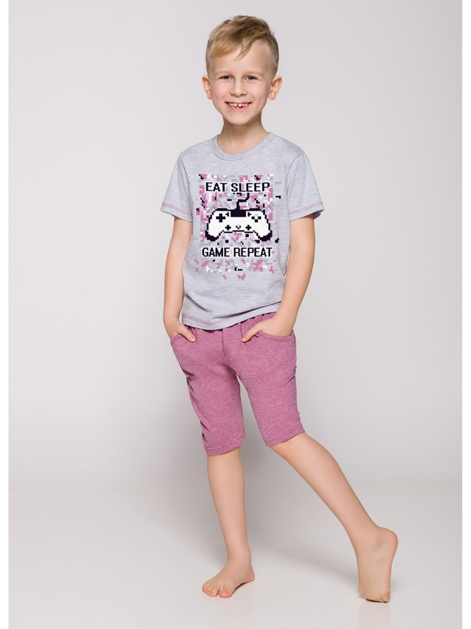 Пижама детская 22215/2216 19 Alan серый/розовый