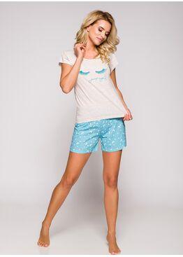 Пижама женская с шортами 2282 19 Eryka экрю/голубой