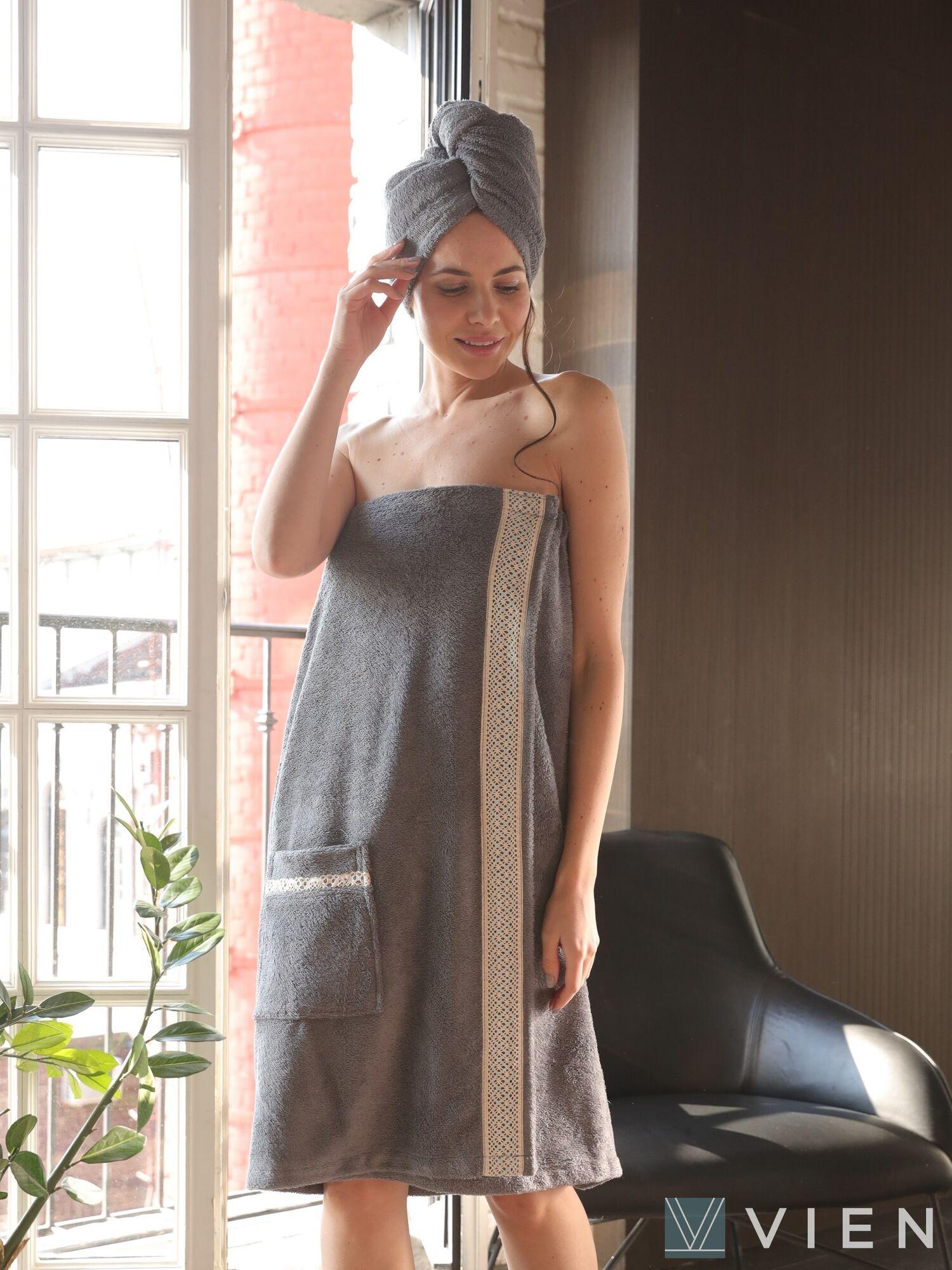 Комплект бамбуковых полотенец  женский  Sauna BELLA (Silver), VIEN