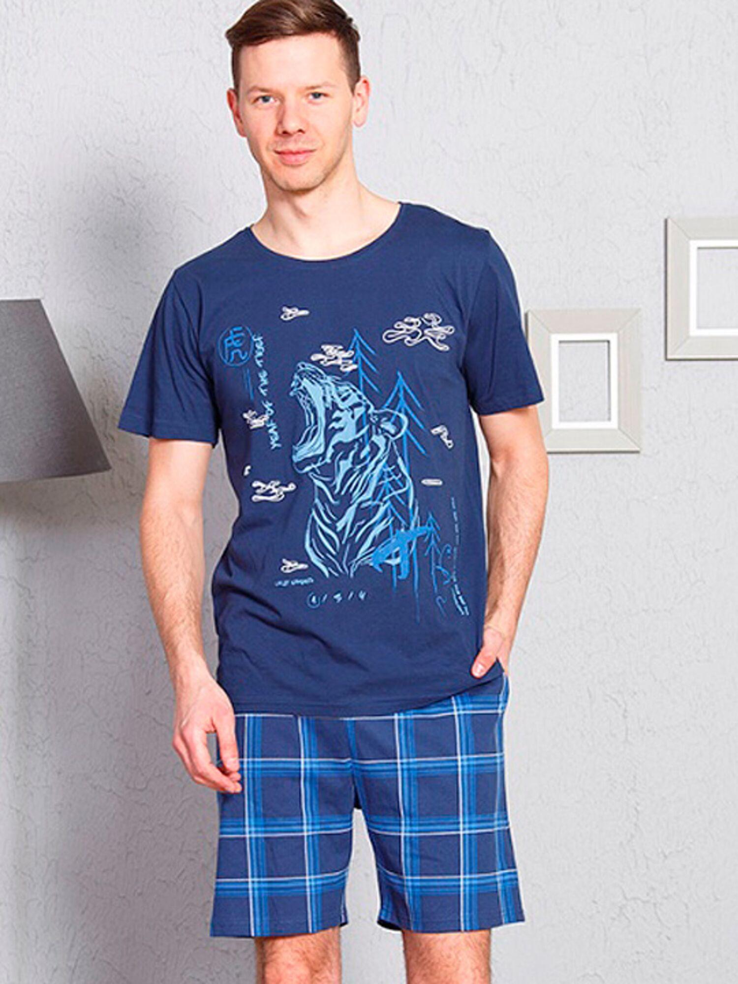 Пижама мужская хлопковая с шортами 711119 3281, синий, VIENETTA