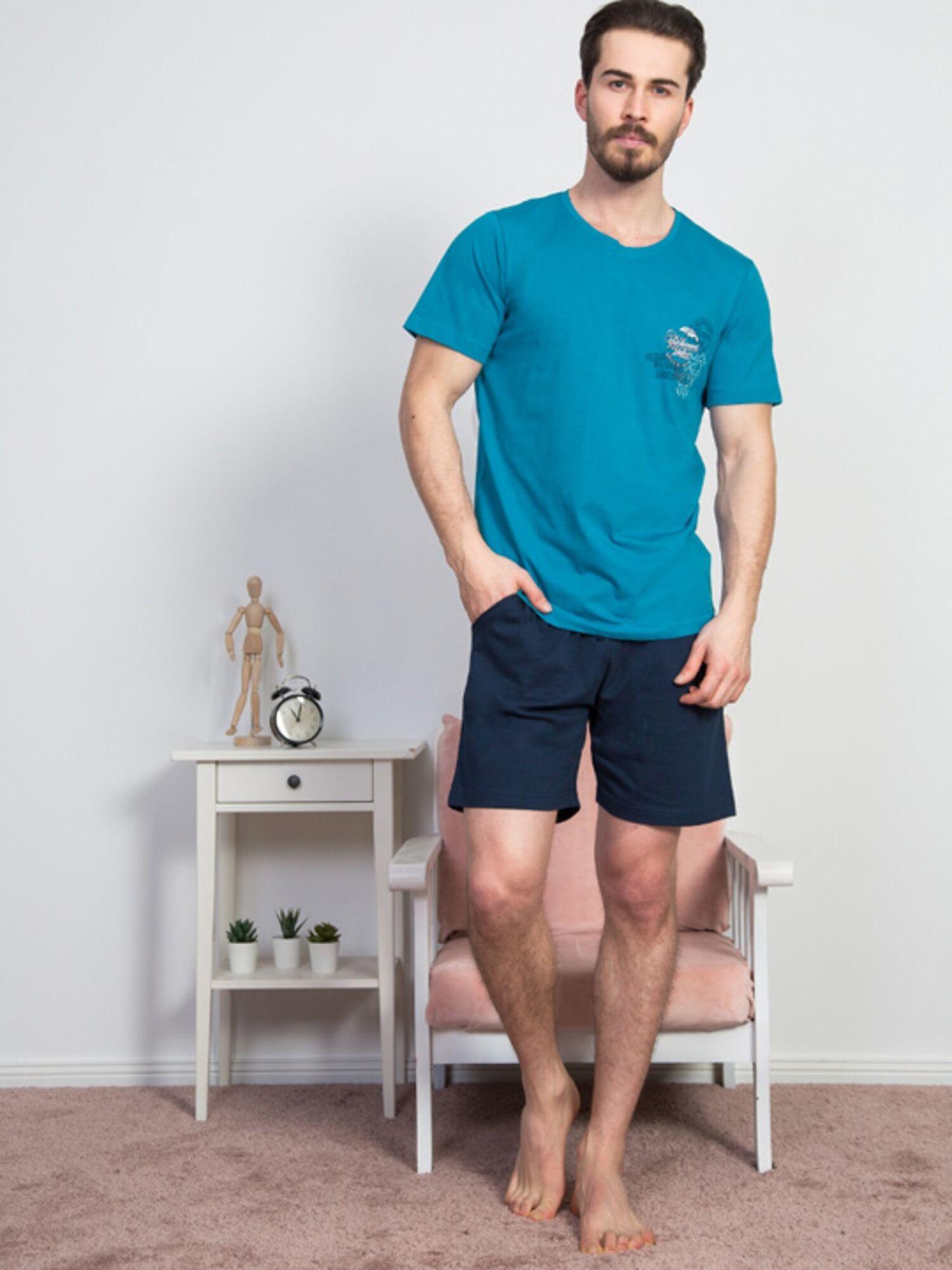 Пижама мужская хлопковая с шортами 811315 0000, синий, VIENETTA