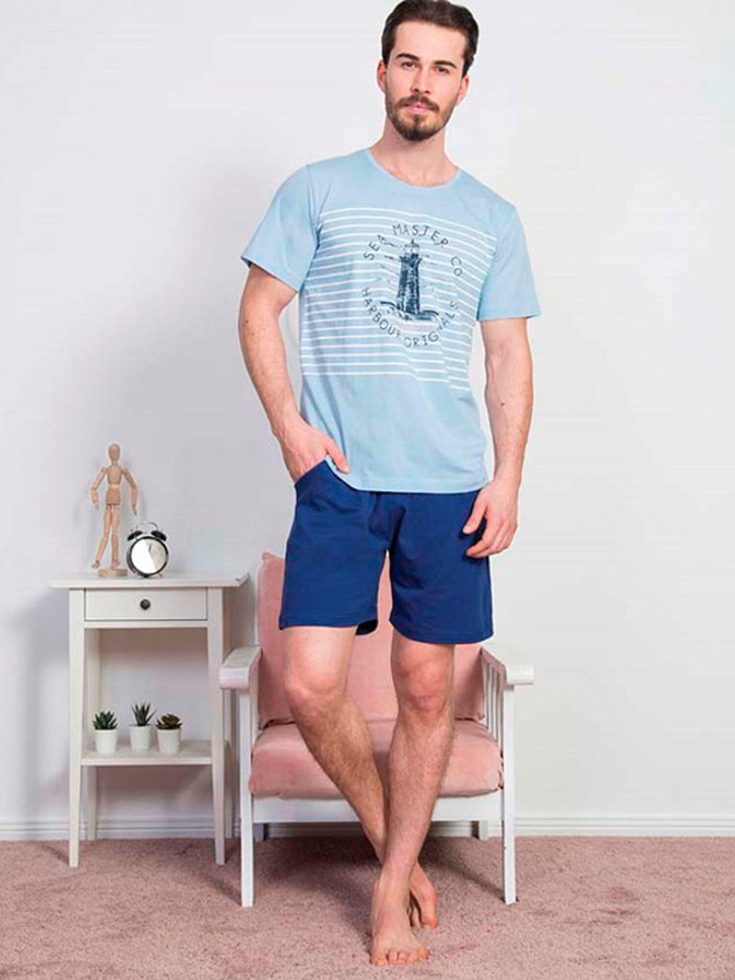 Пижама мужская хлопковая с шортами 811326 0000, синий, VIENETTA