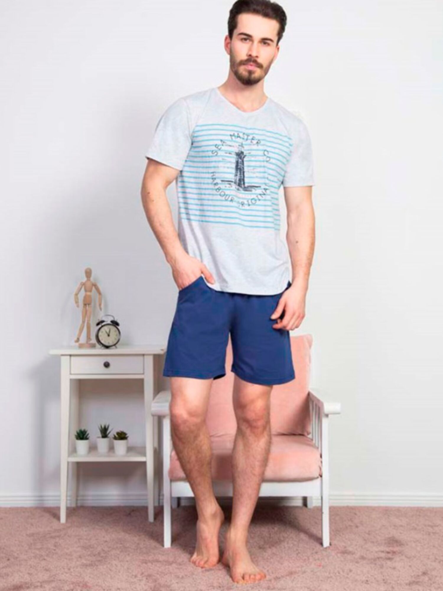 Пижама мужская хлопковая с шортами 811326 0000, серый, VIENETTA