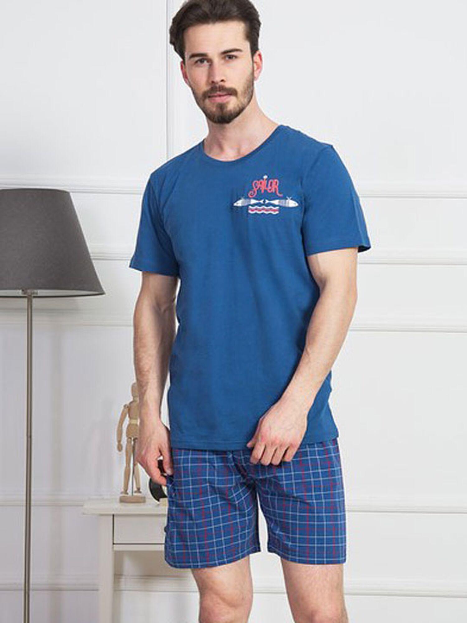 Пижама мужская хлопковая с шортами 812151 4077, синий, VIENETTA