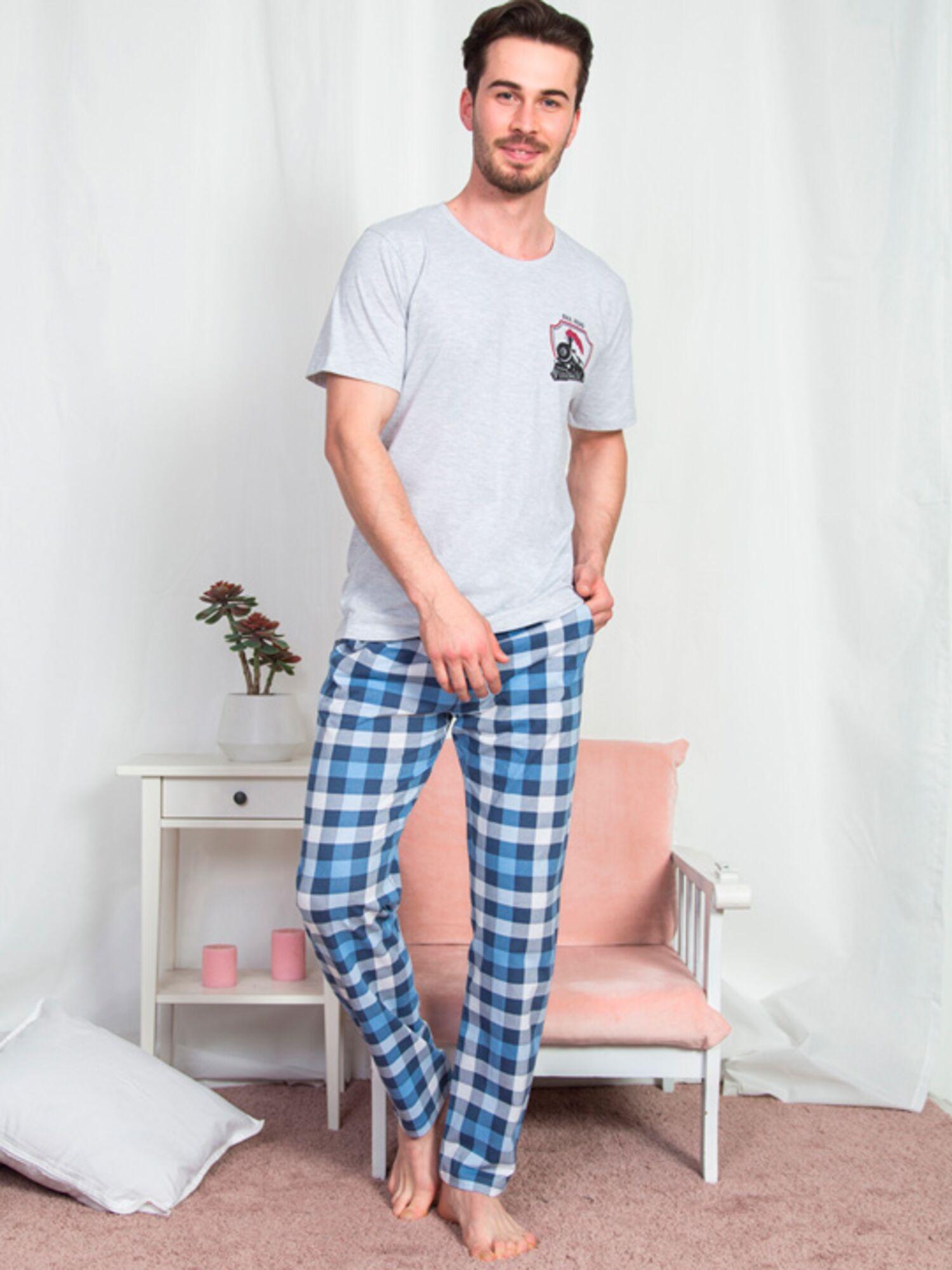 Пижама мужская хлопковая с брюками 903279 0000, голубой, VIENETTA