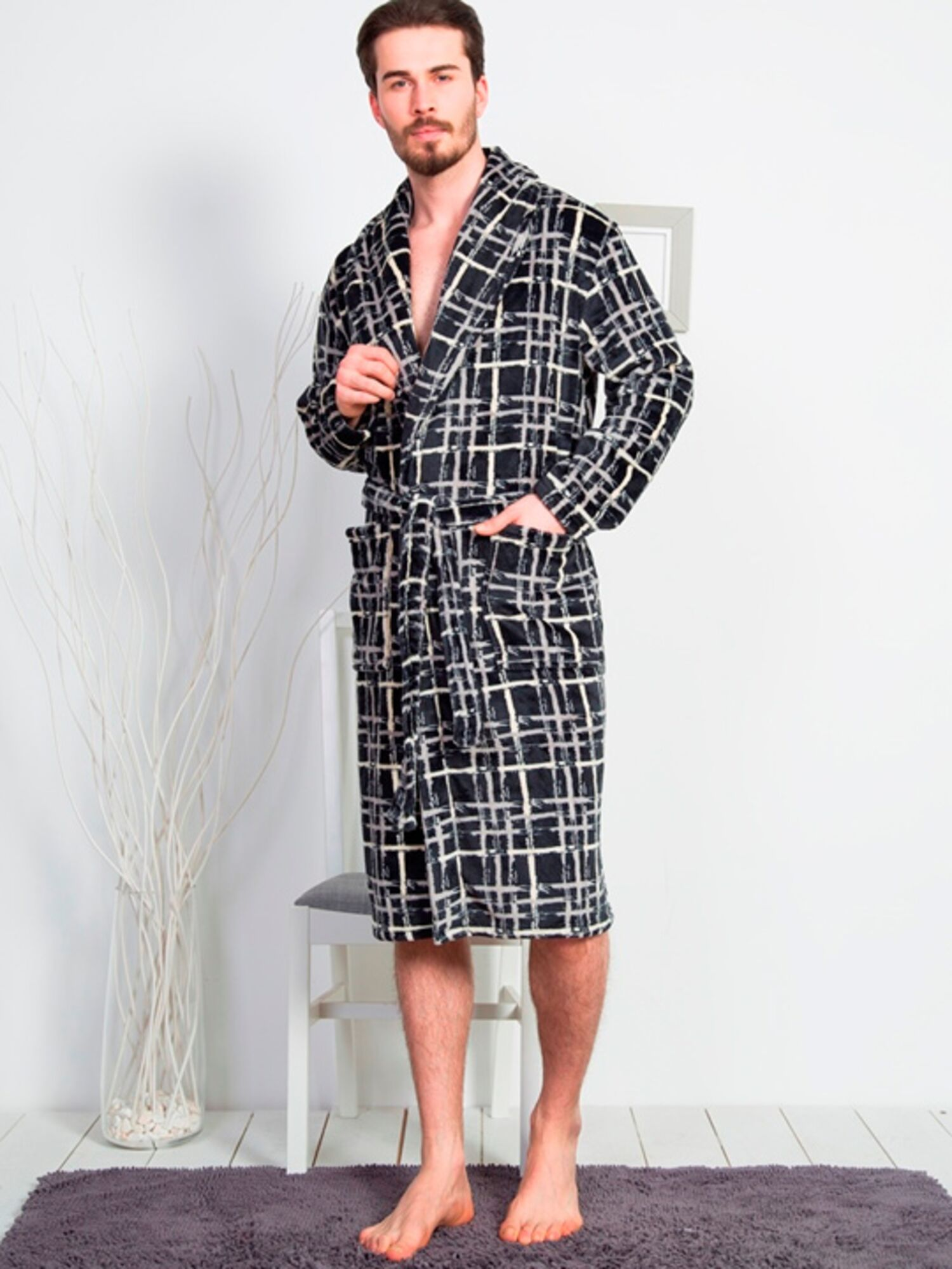 Халат мужской длинный Soft №160503 1056, серый, Vienetta