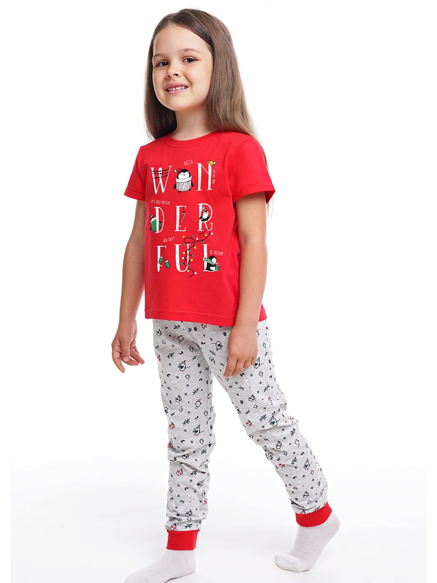 Детская хлопковая пижама для девочки CLE 793515-2/НГ серый/красный, Clever