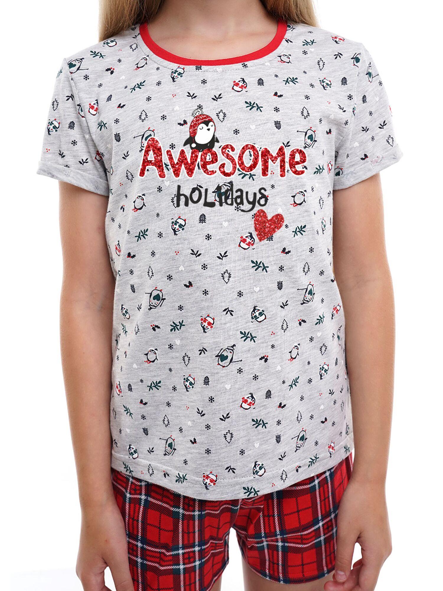 Детская хлопковая пижама для девочки CLE 794164/НГ серый/красный, Clever