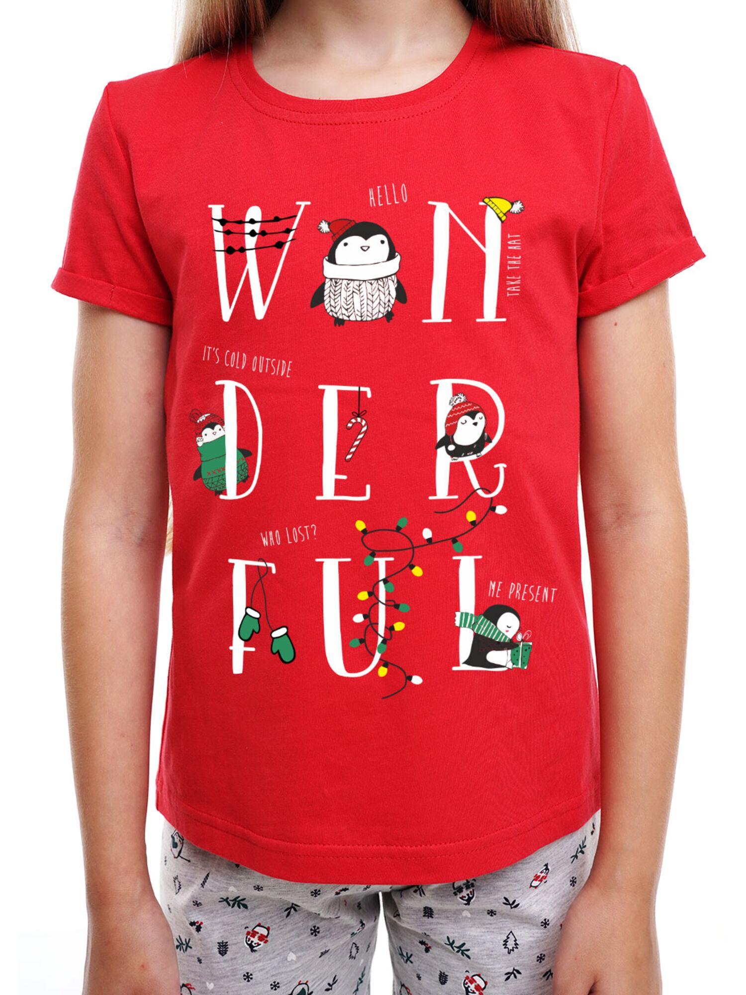 Детская хлопковая пижама для девочки CLE 793518/НГ серый/красный, Clever