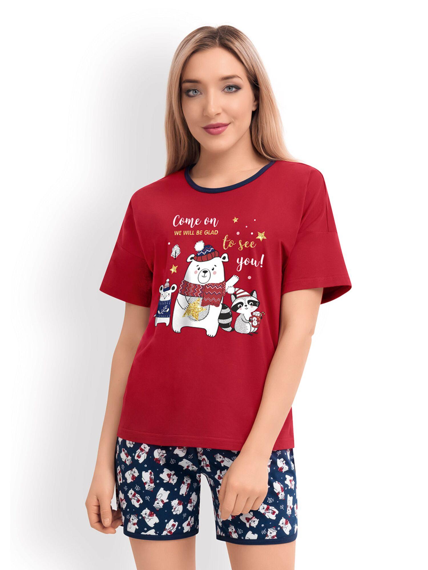 Женская хлопковая пижама с шортами CLE LP19-760/1 красный, Clever