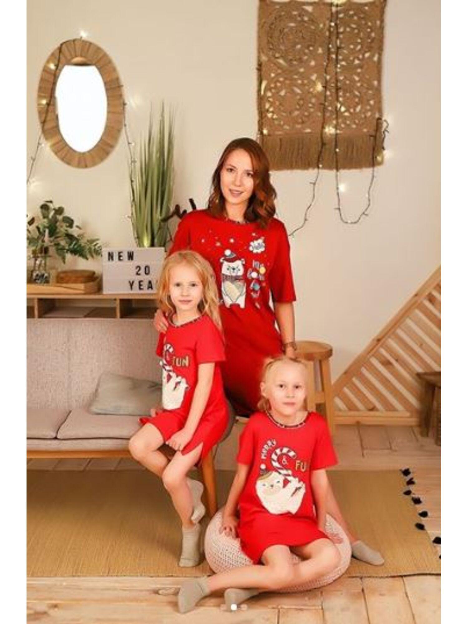 Женское хлопковое платье-сорочка CLE LDR19-760 Тедди красный, Clever