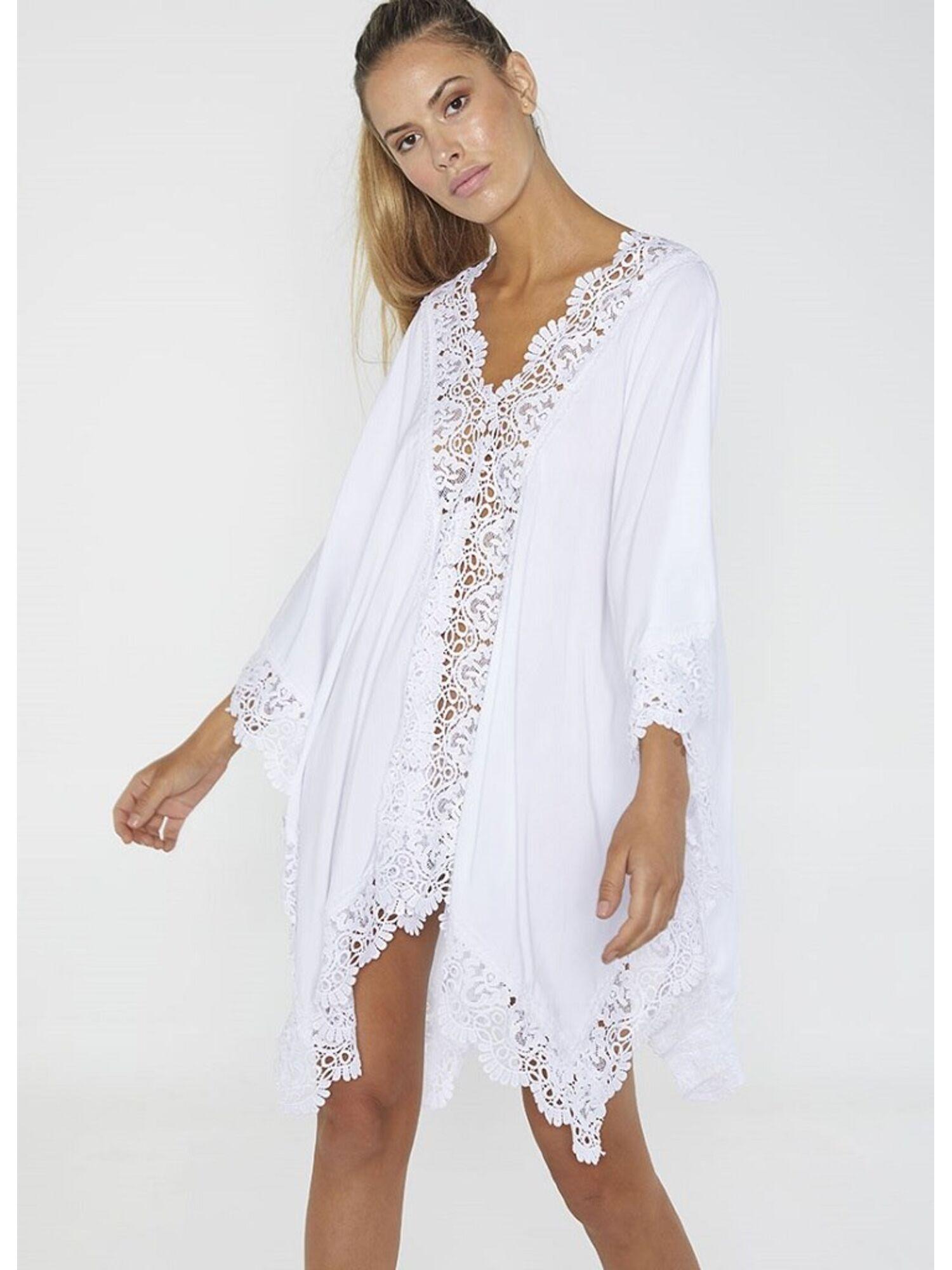 Женское платье-парео пляжное из вискозы 85691 белый, Ysabel Mora (Испания)