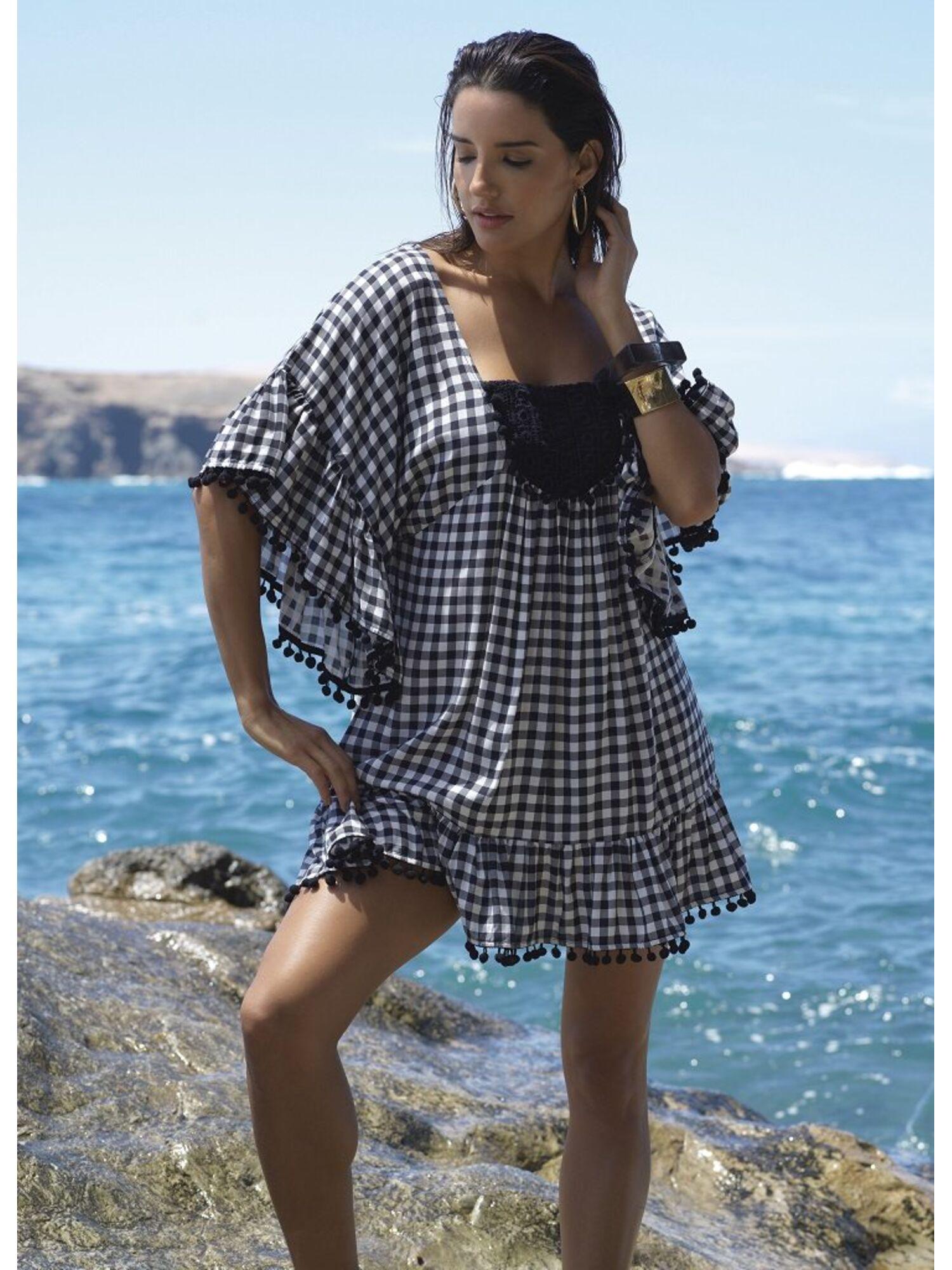 Женское платье пляжное из вискозы 85542 черный/белый, Ysabel Mora (Испания)