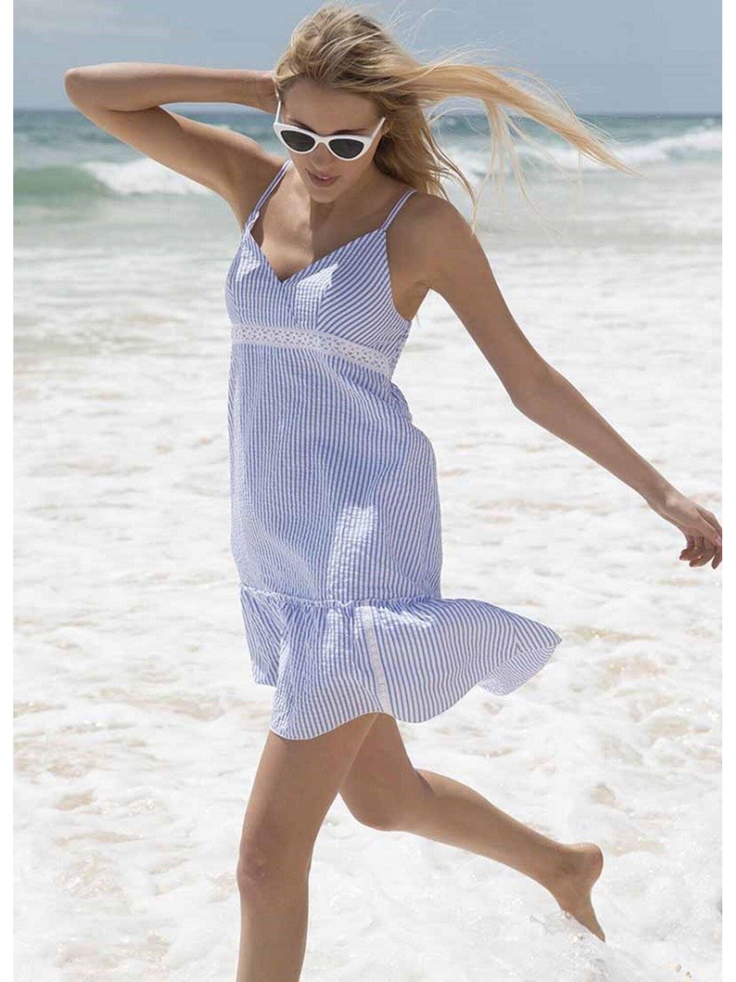Женское платье пляжное 85576 белый/голубой, Ysabel Mora (Испания)