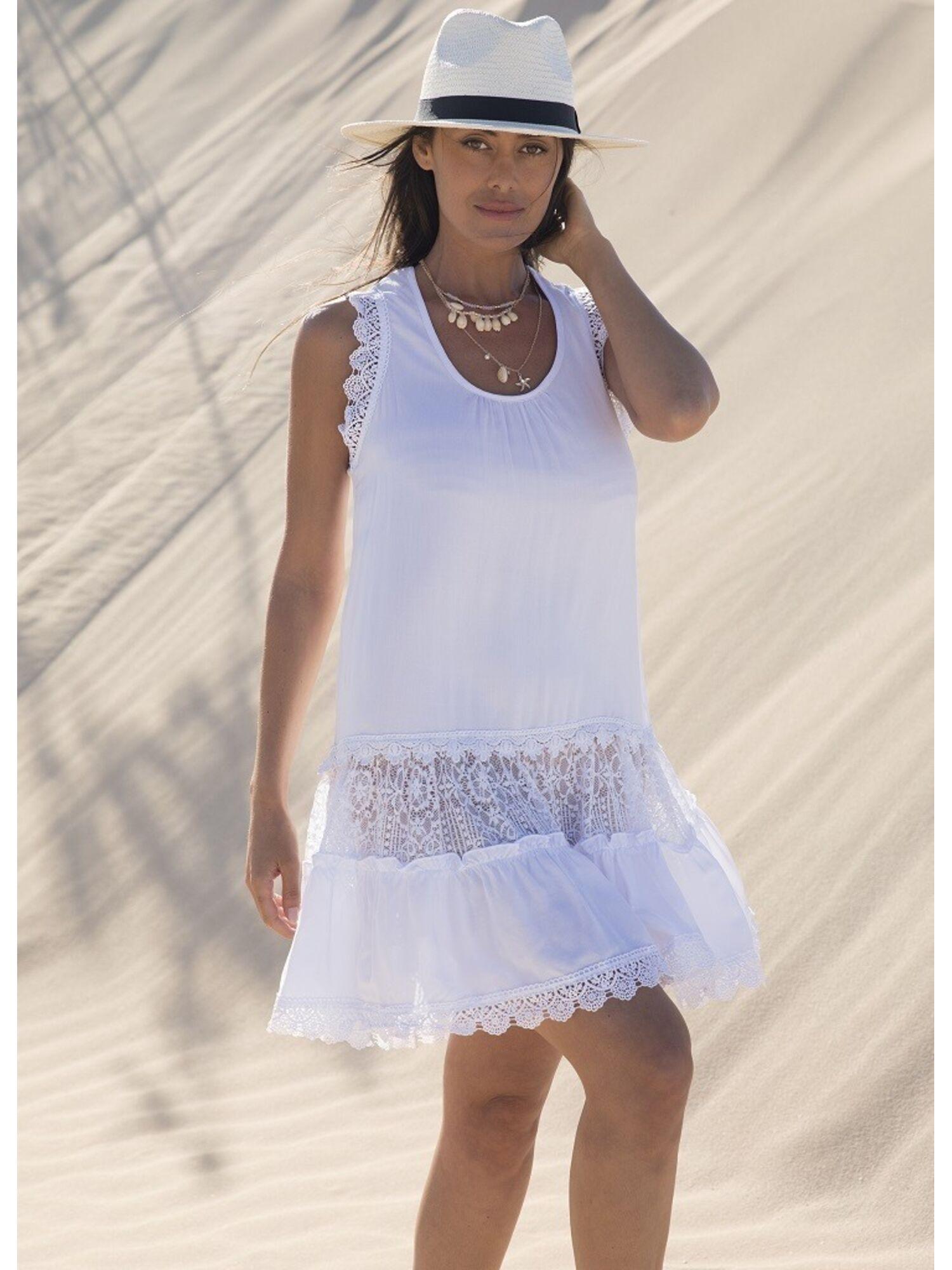 Женское платье пляжное из вискозы 85582 черный/белый, Ysabel Mora (Испания)